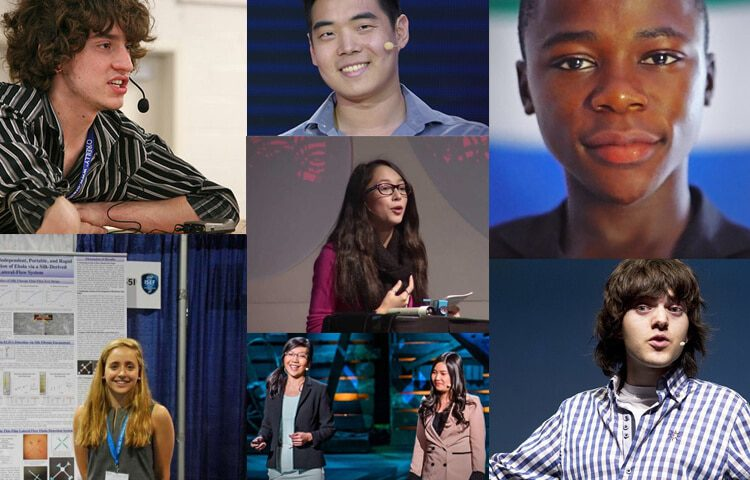 Photo collage of the 8 young geniuses of this article